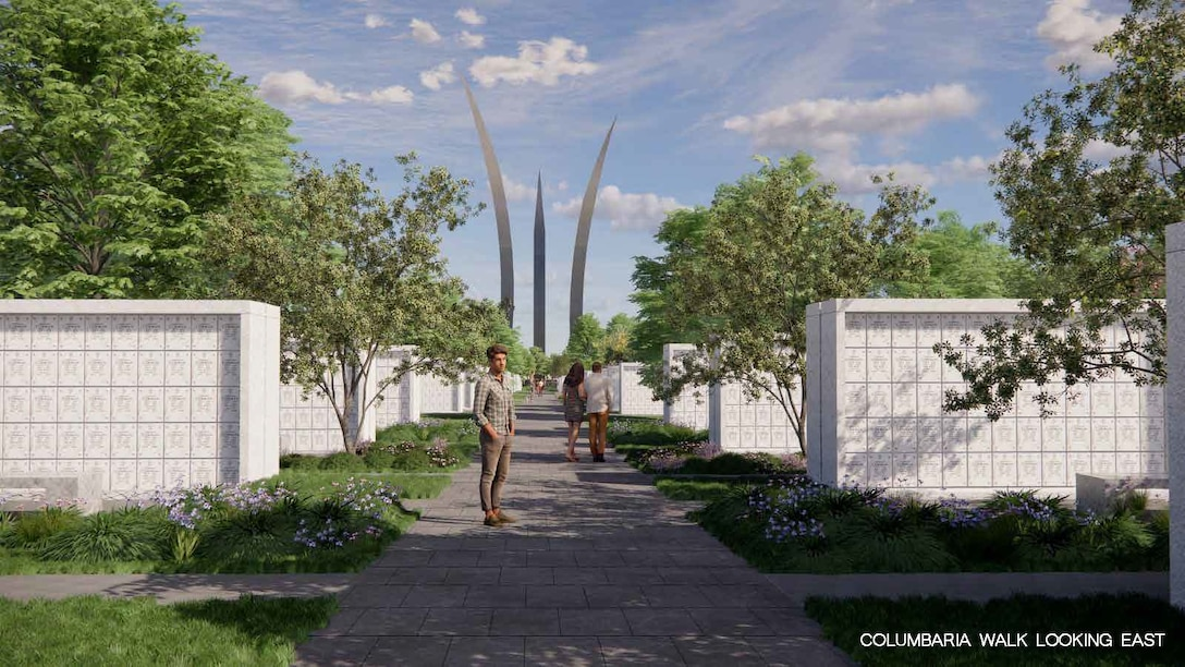 Rendering produced by RHI, 2020. Future view from within the columbaria courts looking east at the existing Air Force Memorial.