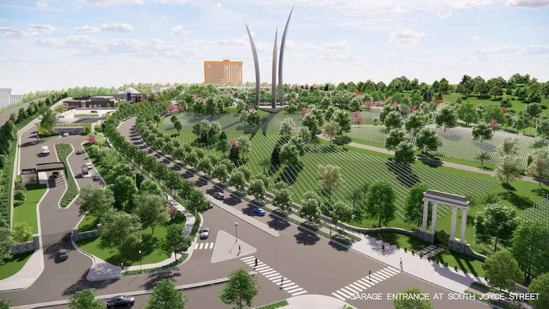 Rendering produced by RHI, 2020. Future condition of Arlington National Cemetery and Columbia Pike; view looking West from future intersection of Columbia Pike and South Joyce St