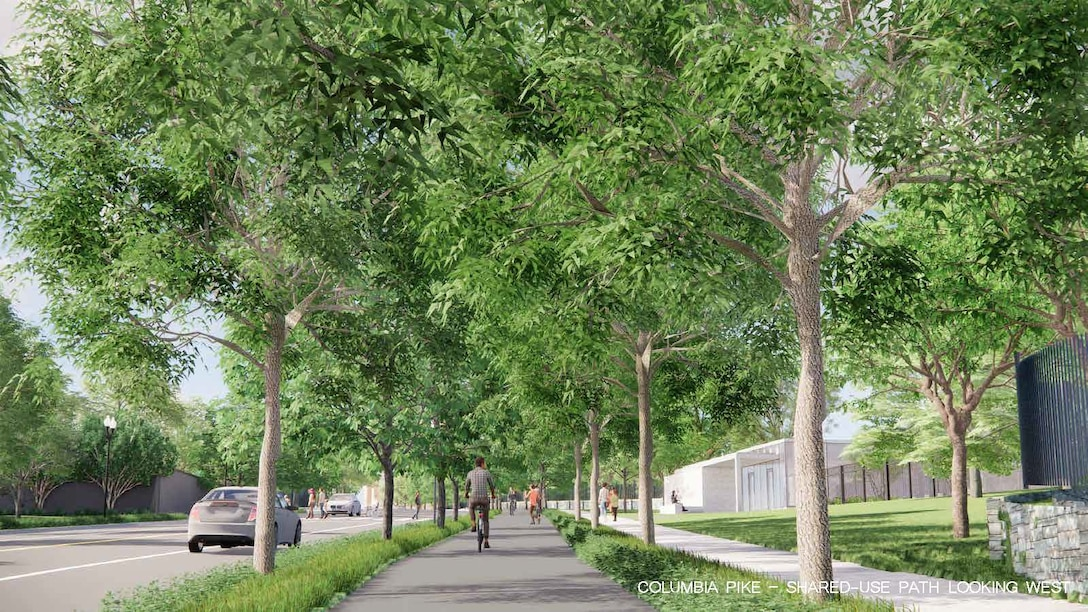 Rendering produced by RHI, 2020. Future condition of Columbia Pike multi-modal corridor along the southern boundary of Arlington National Cemetery Southern Expansion.
