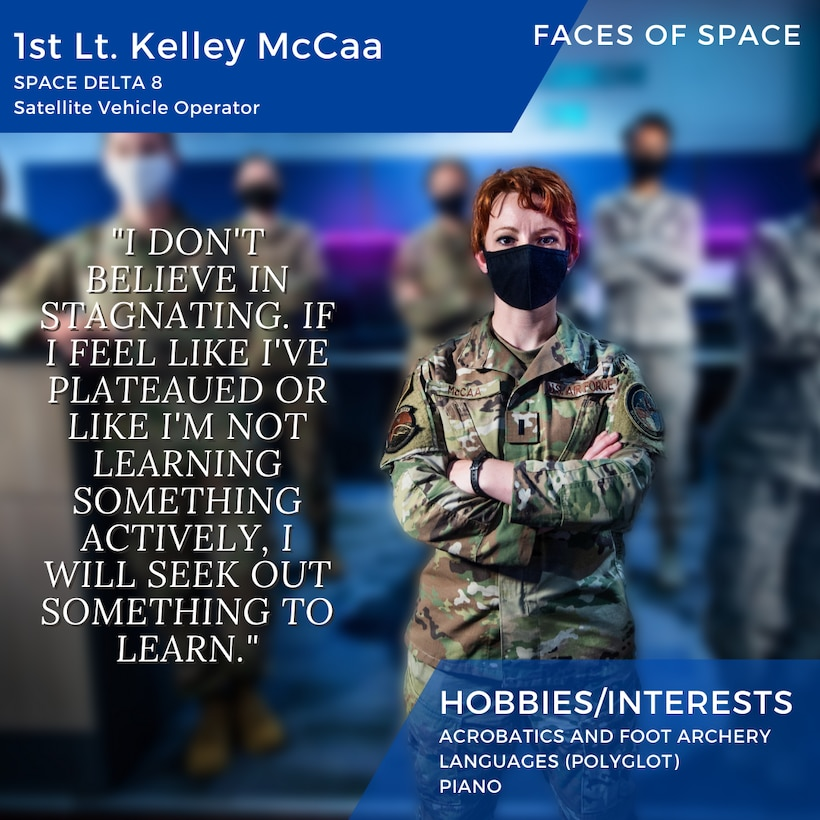 Faces of Space: 1st Lt. Kelley McCaa, Space Delta 8. (U.S. Air Force Graphic by Fin Truant)