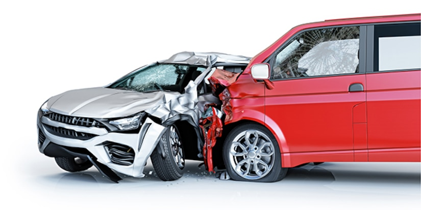 Two-car accident. A red van against a silver sedan. Major damage. Concept totaled vehicles.