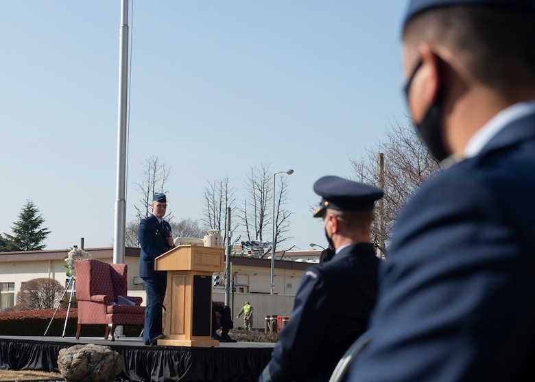 Col. Andrew Campbell, 374th Airlift Wing commander, speaks at a ceremony for the 10th Anniversary of the Great East Japan Earthquake and the Operation Tomodachi support efforts at Yokota Air Base, Japan, March 11, 2021. Campbell spoke about the importance for a continued partnership and strong friendship with the community. (U.S. Air Force photo by Staff Sgt. Joshua Edwards)