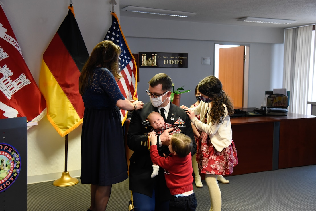 U.S. Army Corps of Engineers, Europe District Deputy Commander Lt. Col. Daniel J. Fox is pinned by his family during his promotion ceremony in Wiesbaden, Germany Feb. 26, 2021. (U.S. Army photo by Alfredo Barraza)