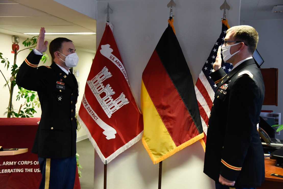 U.S. Army Corps of Engineers, Europe District Commander Col. Patrick J. Dagon reissues the oath of office to recently promoted Lt. Col. Daniel J. Fox as part of his promotion ceremony in Wiesbaden, Germany Feb. 26, 2021. (U.S. Army photo by Alfredo Barraza)