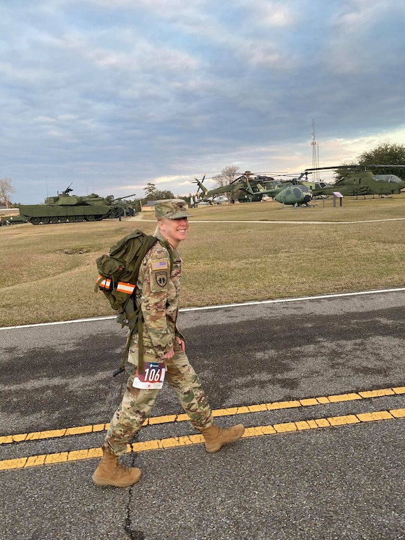 U.S. Army Engineer Research and Development Center Commander Col. Teresa Schlosser walks during the 18.6-mile Norwegian Foot March at Camp Shelby Joint Forces Training Center, near Hattiesburg, Miss., March 6, 2021. Schlosser and five additional ERDC Soldiers, including Lt. Col. Christian Patterson, Maj. Earl Dean, British Liaison Maj. Peter Mackintosh, Capt. Patrick Border and Capt. Jeremiah Paterson, completed the event. (U.S. Army Corps of Engineers photo)