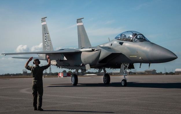 The F-15EX, the Air Force's newest fighter aircraft, arrives to Eglin Air Force Base, Fla., March 11, 2021. The aircraft will be the first Air Force aircraft to be tested and fielded from beginning to end through combined developmental and operational tests.  The 40th Flight Test Squadron and the 85th Test and Evaluation Squadron personnel are responsible for testing the aircraft.  (U.S. Air Force photo/Samuel King Jr.)