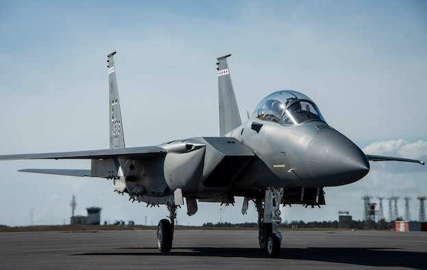 The F-15EX, the Air Force's newest fighter aircraft, arrives at Eglin Air Force Base, Fla., March 11, 2021. The aircraft will be the first Air Force aircraft to be tested and fielded from beginning to end through combined developmental and operational tests. The 40th Flight Test Squadron and the 85th Test and Evaluation Squadron personnel are responsible for testing the aircraft. (U.S. Air Force photo by Ilka Cole)