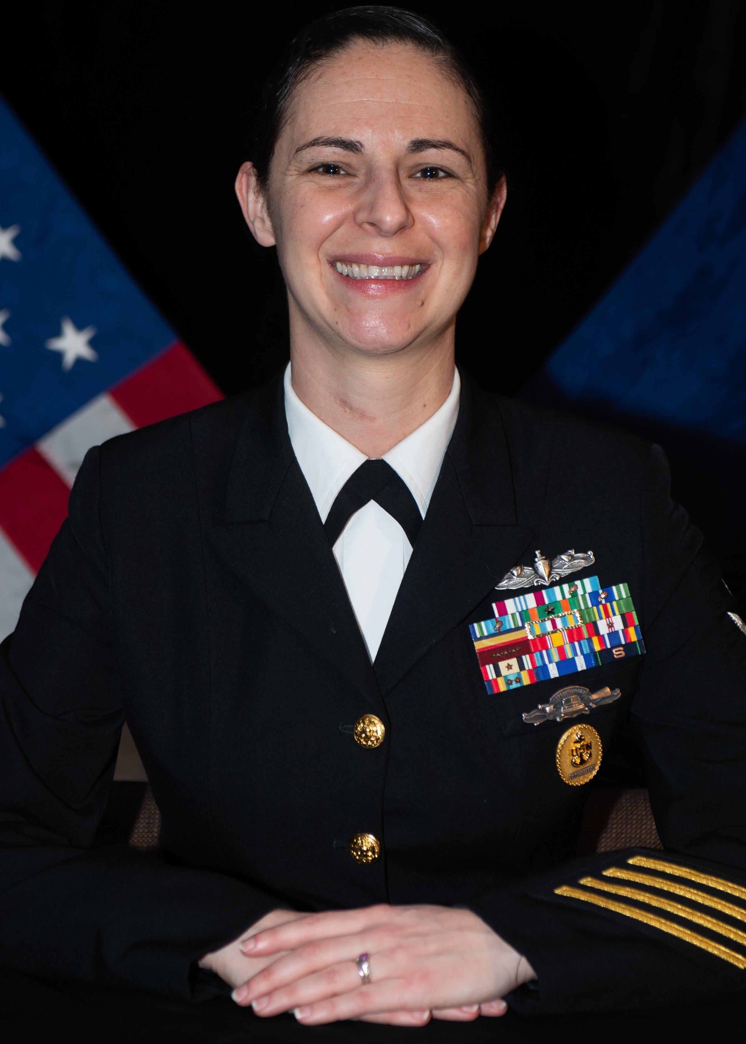 Potrait of Senior Chief Angela Collins in her navy uniform