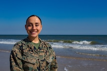 """Cpl. Bree Selvey-Bailey, an embarkation specialist with II Marine Expeditionary Force Information Group, poses for a photo on at Camp Lejeune, N.C., Mar. 11, 2021.  """"Always strive to be the best leader you would want to have,"""" said Selvey-Bailey, an Orlando, Fl. native. According to her leadership, Selvey-Bailey is a mature and disciplined leader who consistently performs at a level above her grade. (U.S. Marine Corps photo by Cpl. Angelo Garavito)"""