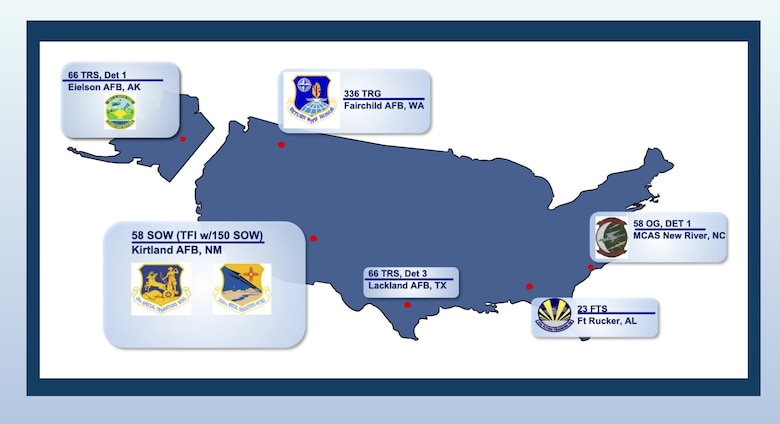 Graphic of a U.S. map that points out the various locations of 58th SOW training sites.
