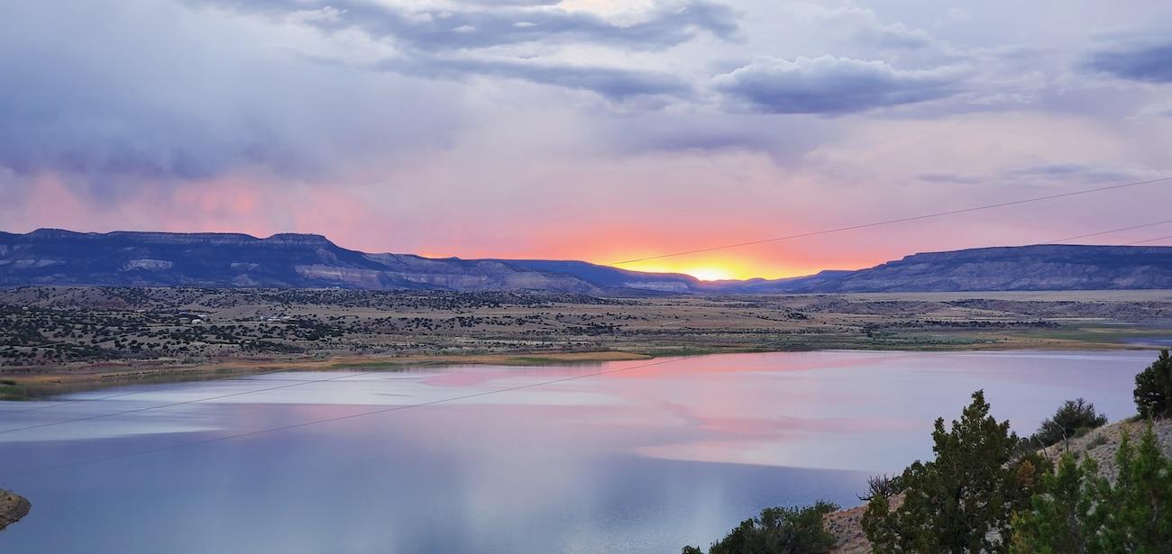 Sunset at Abiquiu Lake, Aug. 15, 2020. Photo by Jonathan Hicks.