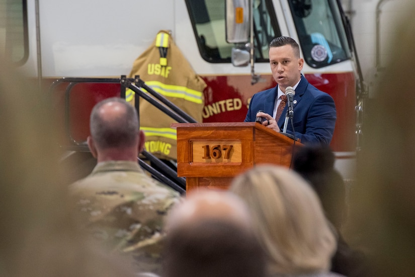 U.S. Air Force Tech. Sgt. Brandon Spears delivers a eulogy for Staff Sgt. Logan Young during a memorial service held at the 167th Airlift Wing, Shepherd Field, Martinsburg, West Virginia, March 6, 2021. Spears and Logan and become friends while serving together at two different active duty stations.
