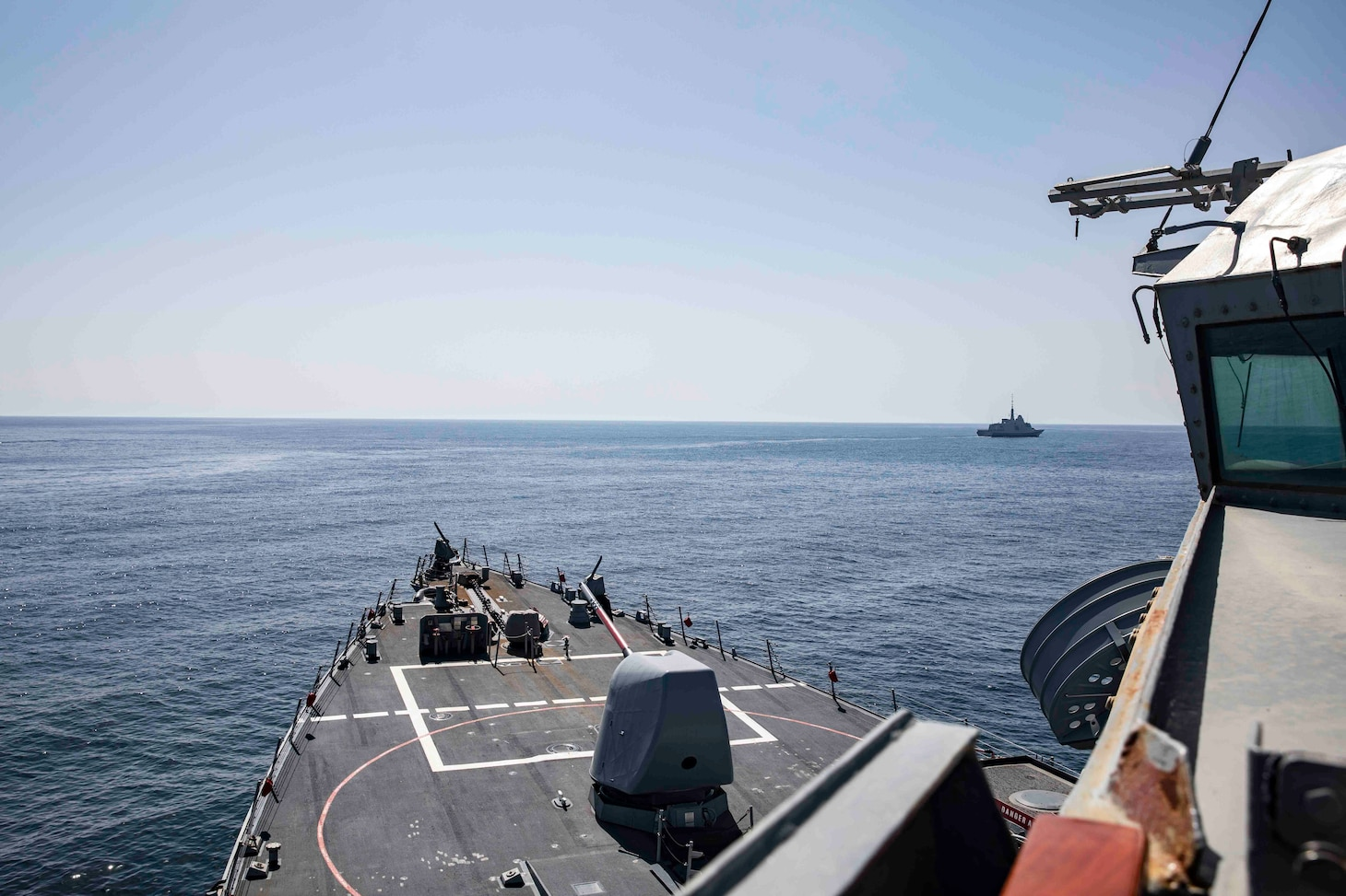 (March 11, 2021) The Arleigh Burke-class guided-missile destroyer USS Porter (DDG 78) participates in exercise Atlas Handshake with the Royal Moroccan Navy multipurpose frigate RMN Mohammed VI (F 701), March 11, 2021. Porter, forward deployed to Rota, Spain, is on its ninth patrol in the U.S. Sixth Fleet area of operations in support of U.S. national interests and security in Europe and Africa.