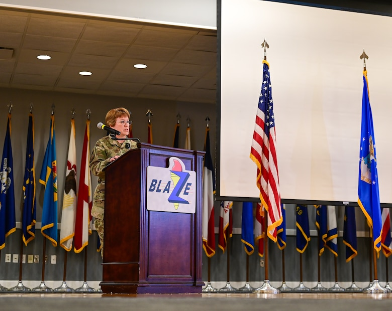 Lt. Gen. Dorothy Hogg, U.S. Air Force and Space Force surgeon general, speaks at the Women's History Month luncheon, Mar. 12, 2021, hosted by Columbus Air Force Base, Miss. Hogg handles matters pertaining to the medical aspects of the air expeditionary force and the health of Airmen and Guardians utilizing resources worldwide for the Air Force Medical Service. (Air Force photo by Airman 1st Class Davis Donaldson)