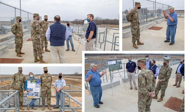 IN THE PHOTO, Memphis District Commander Col. Zachary Miller and other district leaders hosted the Senior Official Performing the Duties of the Assistant Secretary of Army (Civil Works), Mr. Vance Stewart, and USACE's Deputy Commanding General for Civil and Emergency Operations, Maj. Gen. William (Butch) H. Graham, on March 11, 2021. During his tour, Graham stopped by the Grand Prairie Project to learn more about conserving groundwater resources throughout the region and is briefed by subject matter experts on the project and what is needed to complete the project, preserve groundwater, and save life, land and agriculture for many more years to come. (USACE Photo by Vance Harris)