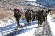 U.S. Marines with 2nd Maintenance Battalion hike to Grouse Meadows at the Marine Corps Mountain Warfare Training Center (MCMWTC) Bridgeport, California, during Mountain Training Exercise 2-21 Jan. 24, 2021. Marines and Sailors are training at the MCMWTC to prepare for the rigors of operating in harsh weather conditions, mountainous terrain, and increased elevation. (U.S. Marine Corps Photo by Cpl. Adaezia L. Chavez)