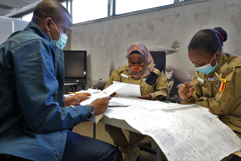 Three Chadian Air Force personnel are the first Defense Language Institute English Language Center students to take advantage of the newest curriculum at DLIELC. This curriculum, pairing the latest virtual reality and artificial intelligence technology, aims to familiarize international students with English communications during aviation scenarios.