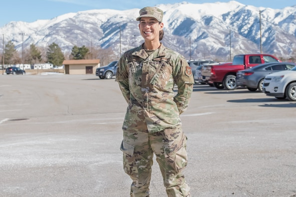 Airman 1st Class Kristie Turturro, medical administrator in the 419th Medical Squadron, poses in front of her office, Feb. 7, 2021, at Hill Air Force Base, Utah.