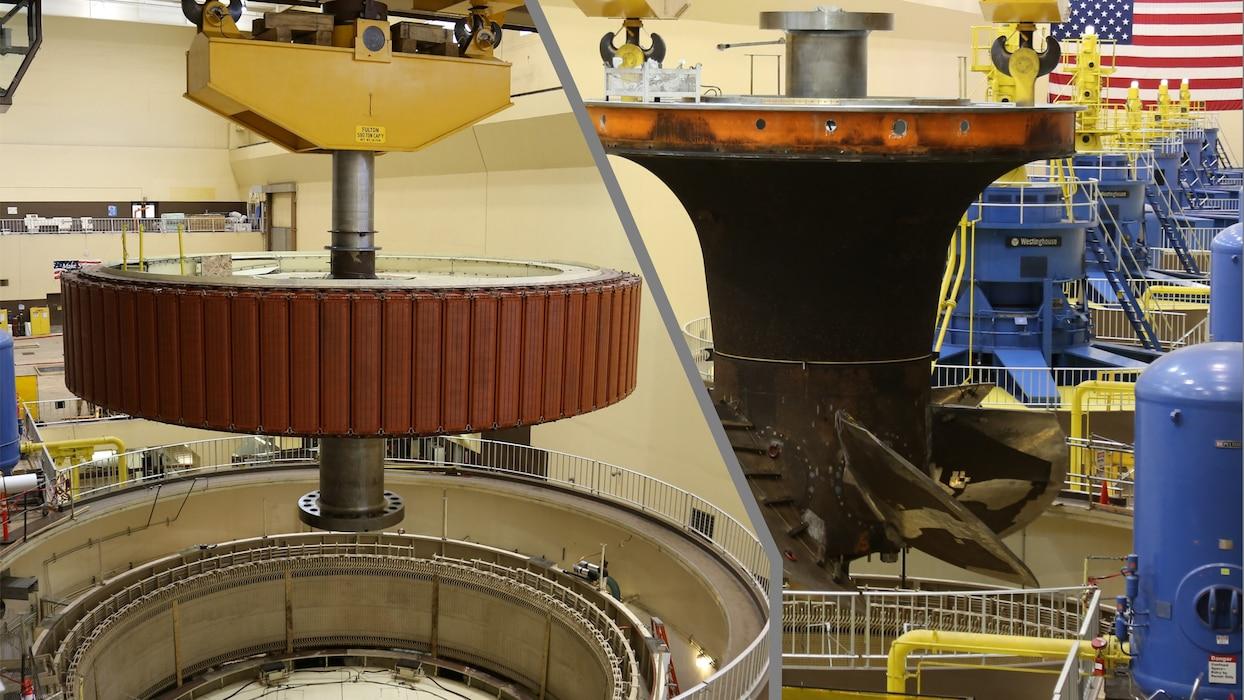 Generator: 135 megawatt; 0.95 power factor; 434 inch rotor diameter; 480 ton rotor weight ------                                                                     Turbine: Kaplan type, 6-blade; 312 inch runner diameter; 90 RPM; 212,400 horsepower