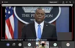 Secretary of Defense speaks via Microsoft Teams