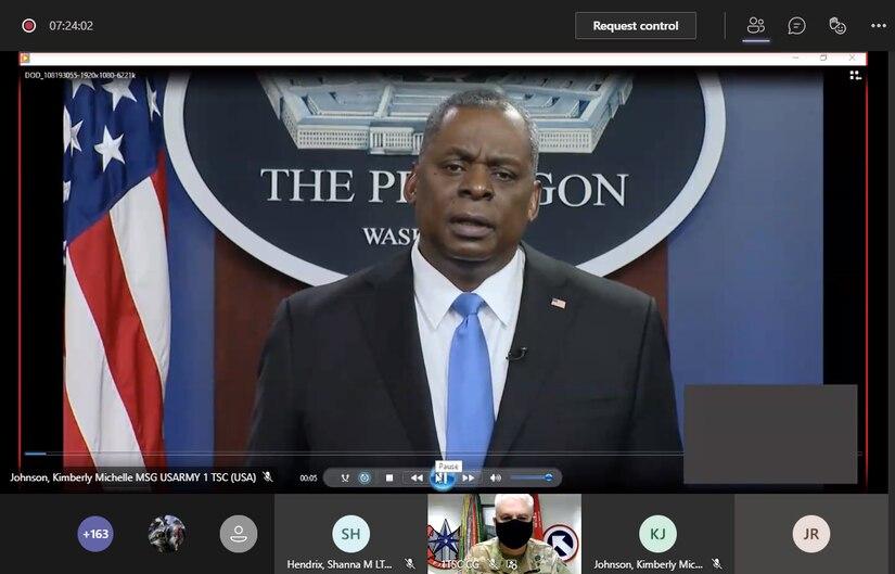 Secretary of Defense speaks via Microsoft Teams