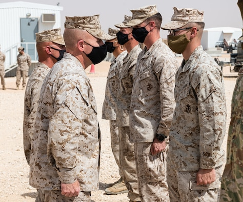 Marine Brig. Gen. Farrell Sullivan, Naval Amphibious Forces Task Force 51/5th Marine Expeditionary Brigade commander, visited Prince Sultan Air Base, Kingdom of Saudi Arabia, March 10, 2021.