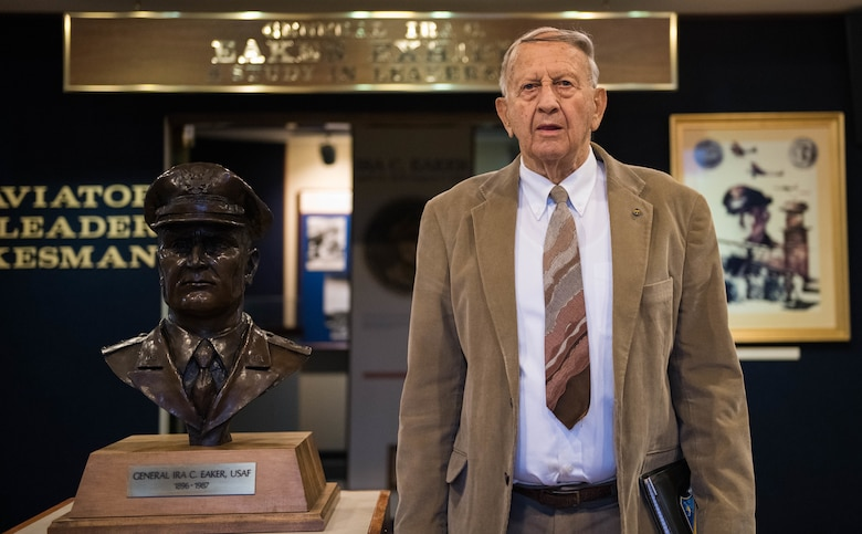 Dr. Richard I. Lester, a professor at Air University poses for a photo at the Ira C. Eaker Center for Leadership Development on Mar. 3, 2021, Maxwell Air Force Base, Ala. After 57 years of service to AU and the Air Force, Lester is retiring with the knowledge that he has made a large impact on the organization as a whole. (U.S. Air Force photo by Airman 1st Class Cody Gandy)