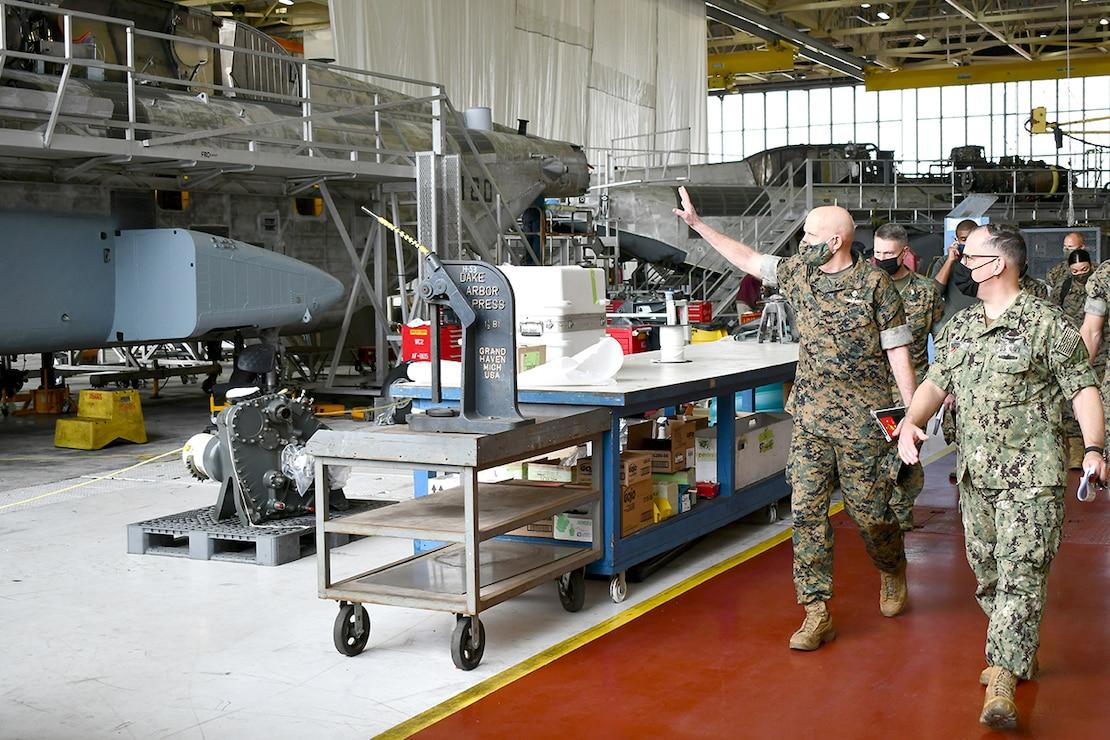 Commandant of the Marine Corps Gen. David H. Berger toured Fleet Readiness Center East facilities March 15.