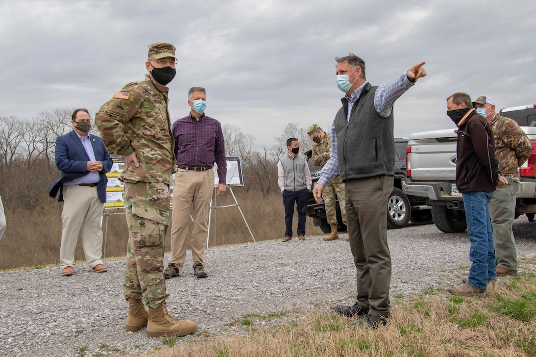 IN THE PHOTOS, St. Francis Levee District Partner Rob Rash, Project Manager Jason Dickard, and Geotechnical Branch Chief Cory Williams brief USACE's Deputy Commanding General for Civil and Emergency Operations, Maj. Gen. William (Butch) H. Graham and Senior Official Performing the Duties of the Assistant Secretary of Army (Civil Works), Mr. Vance Stewart on the importance of the Mississippi River and Tributaries Project, as well as the role the St. Francis Levee District plays in that project and keeping America safe from flood events. (USACE photos by Vance Harris)