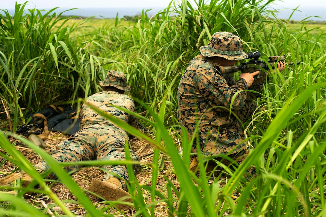 Marines fire weapons in a field.