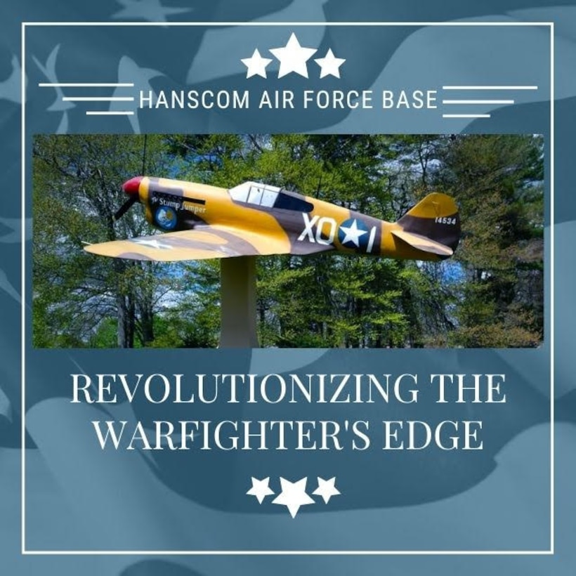 "The P-40 Warhawk and ""Revolutionizing the Warfighter's Edge"" were adopted as the official Hanscom Air Force Base, Mass., mascot and motto following a Community Action Board vote in February, 2021. Board members voted to implement the verbiage they felt best represented all of Hanscom's diverse mission sets. (U.S. Air Force graphic by Lauren Russell)"