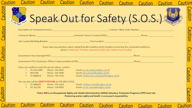 Example of Speak Out for Safety placard.