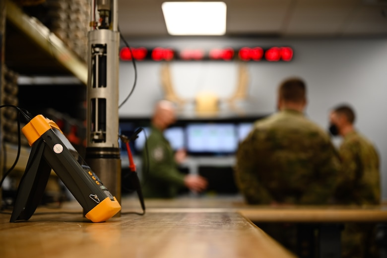 A seismometer is displayed during a leadership immersion March 11, 2021, at Eielson Air Force Base, Alaska.
