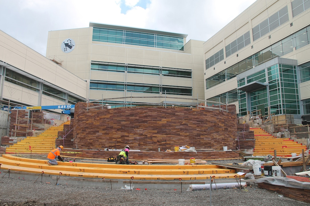 Phase 3 central courtyard construction and landscaping is being finalized at the U.S. Army Pacific 's new Command and Control Facilty at Fort Shafter.