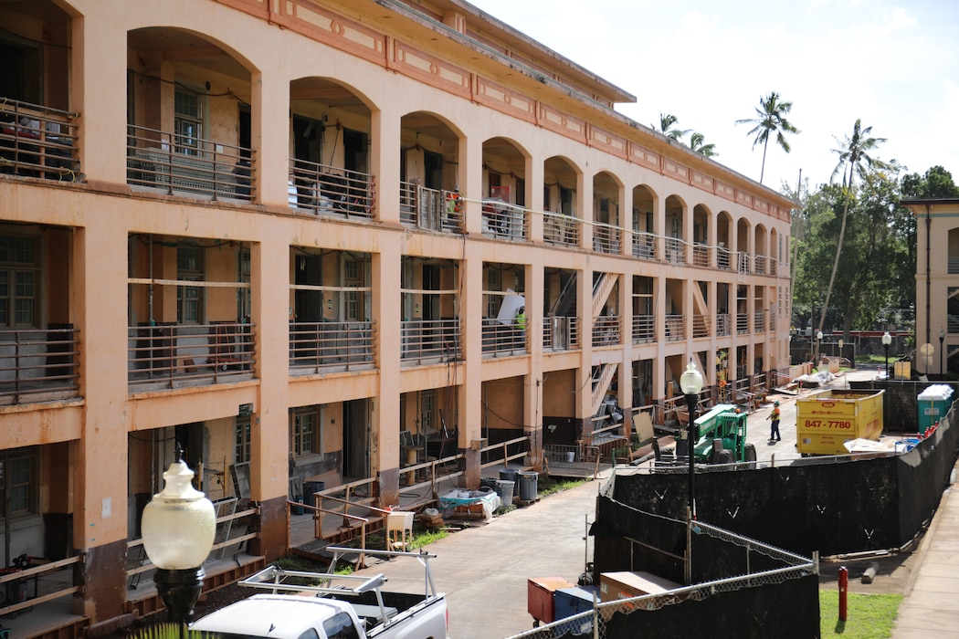 Exterior and interior renovations continue on Bldg. 155, Quad B at Schofield Barracks.  The USACE- Honolulu District project team anticipates renovation completion in Spring 2022.