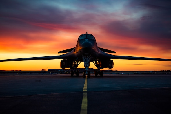 A B-1B Lancer assigned to the 9th Expeditionary Bomb Squadron takes off from Ørland Air Force Station, Norway, March 14, 2021. Conducting Bomber Task Force Europe training missions provides aircrew with theater familiarization while integrating with ally and partner forces. (U.S. Air Force photo by Airman 1st Class Colin Hollowell)