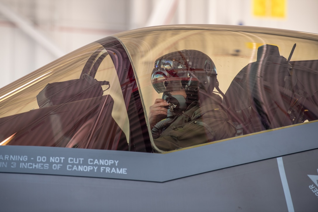 "Maj. Howard ""Cash"" Shaner, F-35A Lightning II pilot assigned to the 134th Fighter Squadron, Vermont Air National Guard, prepares for launch at the Vermont Air National Guard base, South Burlington, Vermont, March 12, 2021. Shaner is the first ever Air National Guard F-35 pilot to graduate from the highly competitive U.S. Air Force Weapons School. (U.S. Air National Guard photo by Mrs. Julie M. Paroline)"