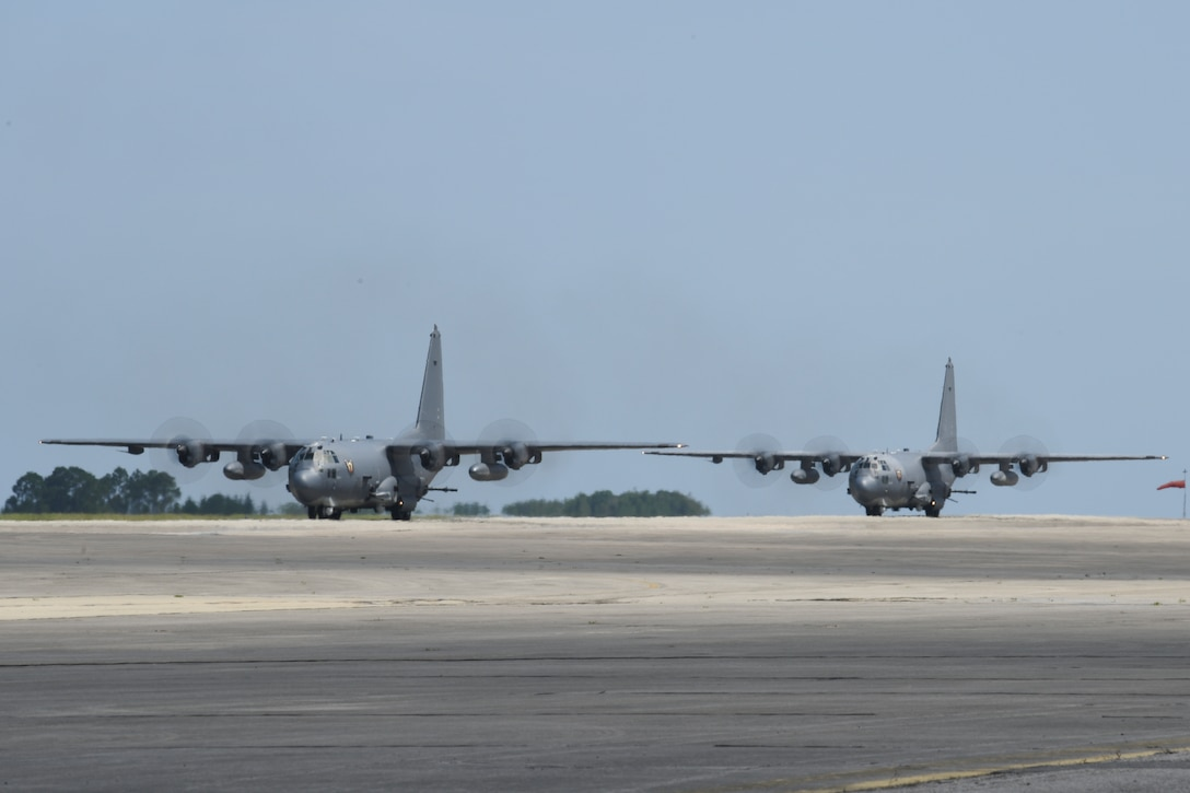 "Two AC-130U ""Spooky"" gunships with the 4th Special Operations Squadron return from their final scheduled combat deployment at Hurlburt Field, Fla., June 8, 2019. The Spooky gunships have been almost constantly deployed since 2001 and are being replaced by the AC-130J Ghostrider, the most lethal and innovative gunship in the world. (U.S. Air Force photo by Airman 1st Class Blake Wiles)"