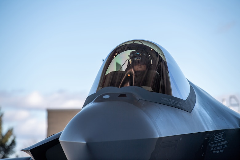 """Maj. Howard """"Cash"""" Shaner, F-35A Lightning II pilot assigned to the 134th Fighter Squadron, Vermont Air National Guard, prepares for launch at the Vermont Air National Guard base, South Burlington, Vermont, March 12, 2021. Shaner is the first ever Air National Guard F-35 pilot to graduate from the highly competitive U.S. Air Force Weapons School. (U.S. Air National Guard photo by Mrs. Julie M. Paroline)"""