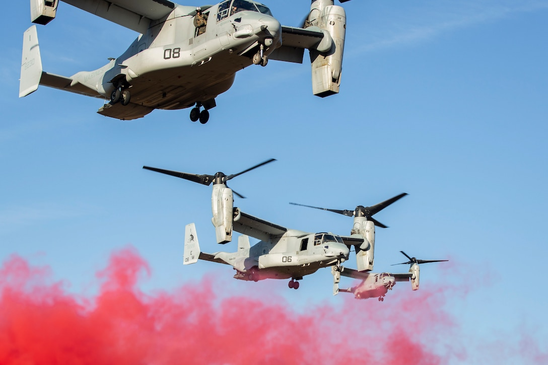 MV-22B Ospreys with Marine Medium Tiltrotor Squadron 261 conduct aerial operations at Hunter Army Airfield, Savannah, Georgia, Dec. 10, 2020. VMM-261 trained with airmen in shore-based operations in an unfamiliar environment prior to an upcoming deployment in Spring 2021. VMM-261 is a subordinate unit of 2nd Marine Aircraft Wing, the air combat element of II Marine Expeditionary Force. (U.S. Marine Corps photo by Lance Cpl. Yuritzy Gomez)