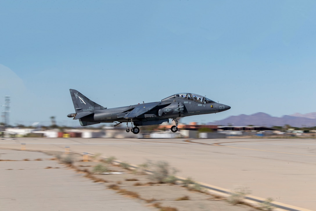 A Marine lands an AV-8B Harrier II after returning from a flight at Marine Corps Air Station Yuma, Arizona, Feb. 18, 2021. Marines with Marine Attack Training Squadron 203 (VMAT-203) trained with ordnance in an unfamiliar environment in order to increase proficiency in critical mission skills such as low altitude tactics, complex maneuvers, and close air support. VMAT-203 is a subordinate unit of 2nd Marine Aircraft Wing, the aviation combat element of II Marine Expeditionary Force. (U.S. Marine Corps photo by Sgt. Servante R. Coba)