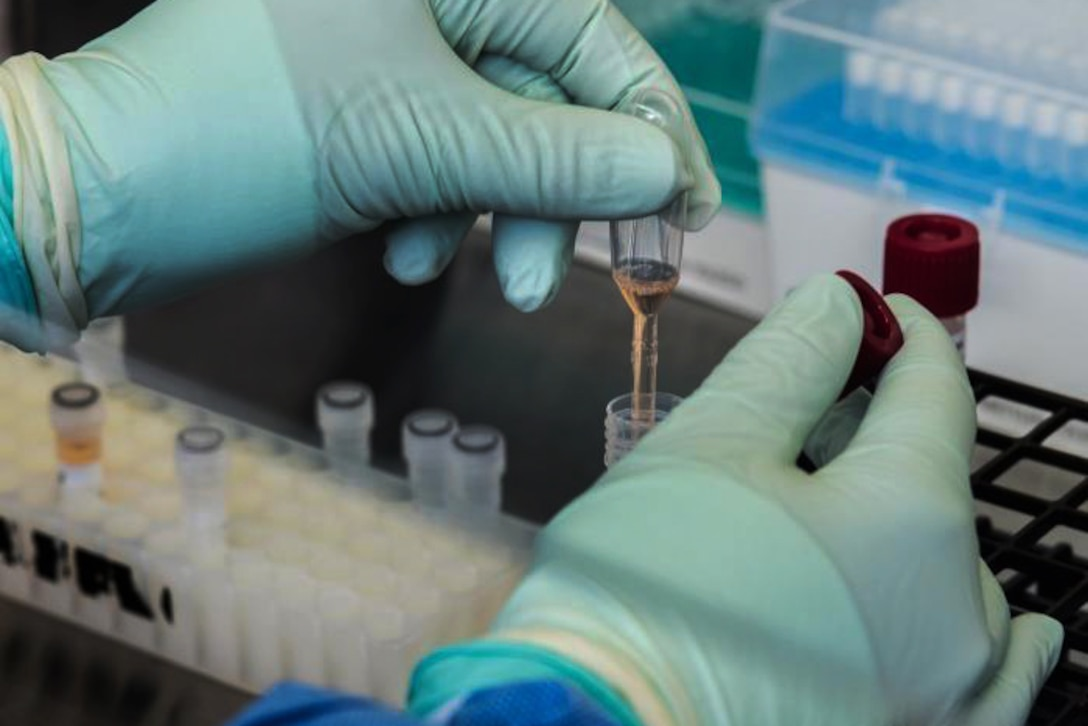 A person with gloves on holds a test tube while performing tests.