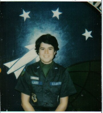 Capt. Heidi Hellauer (Heidi Bullock) poses for 510th Strategic Missile Squadron photo, Whiteman Air Force Base. Mo. Sept. 1987.