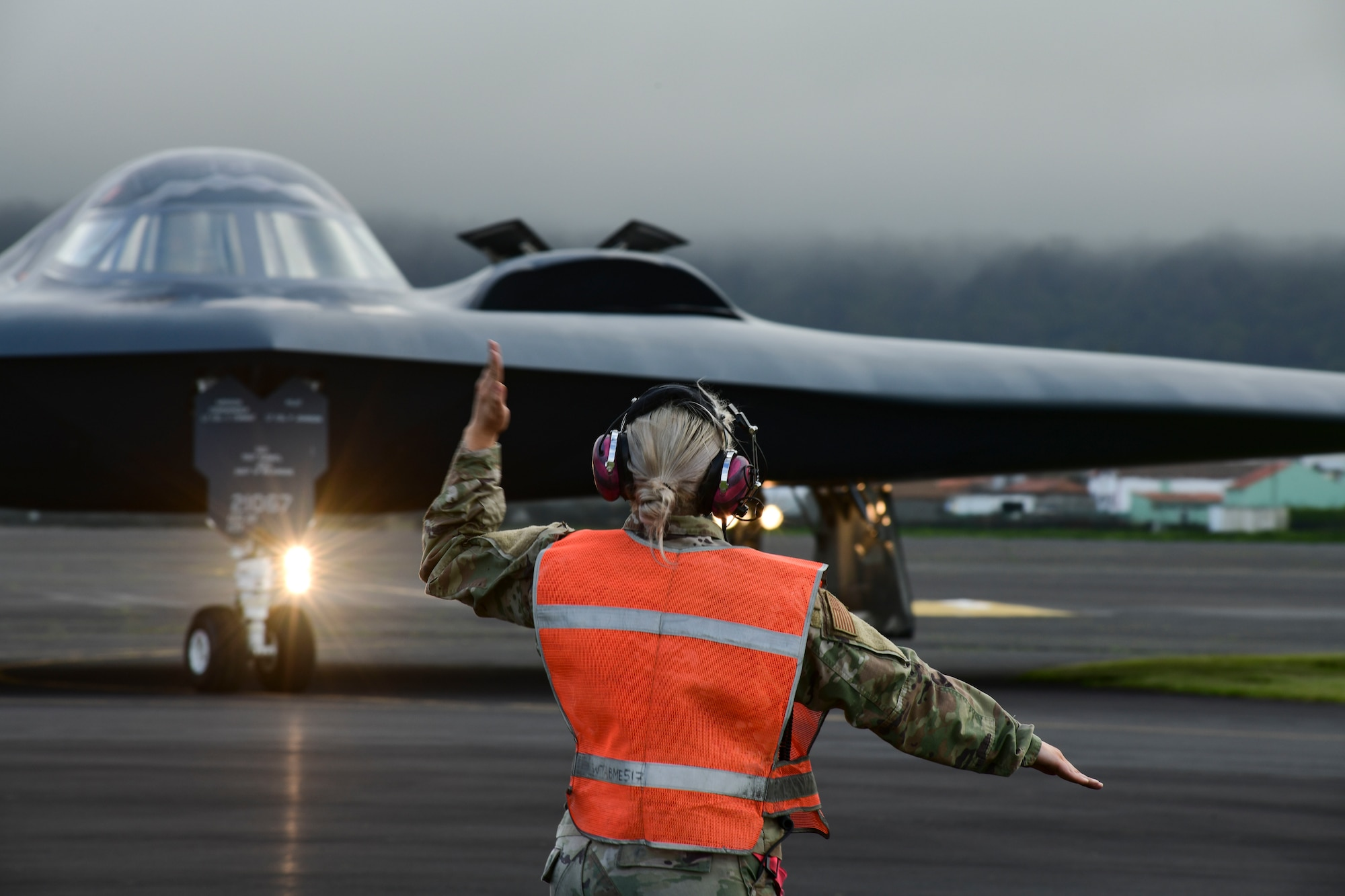Three B-2 Spirit stealth bombers, assigned to Whiteman Air Force Base, Missouri, depart Lajes Field, Azores, March 16, 2021. The B-2s refueled at Lajes prior to supporting bomber task force missions in the Arctic region.