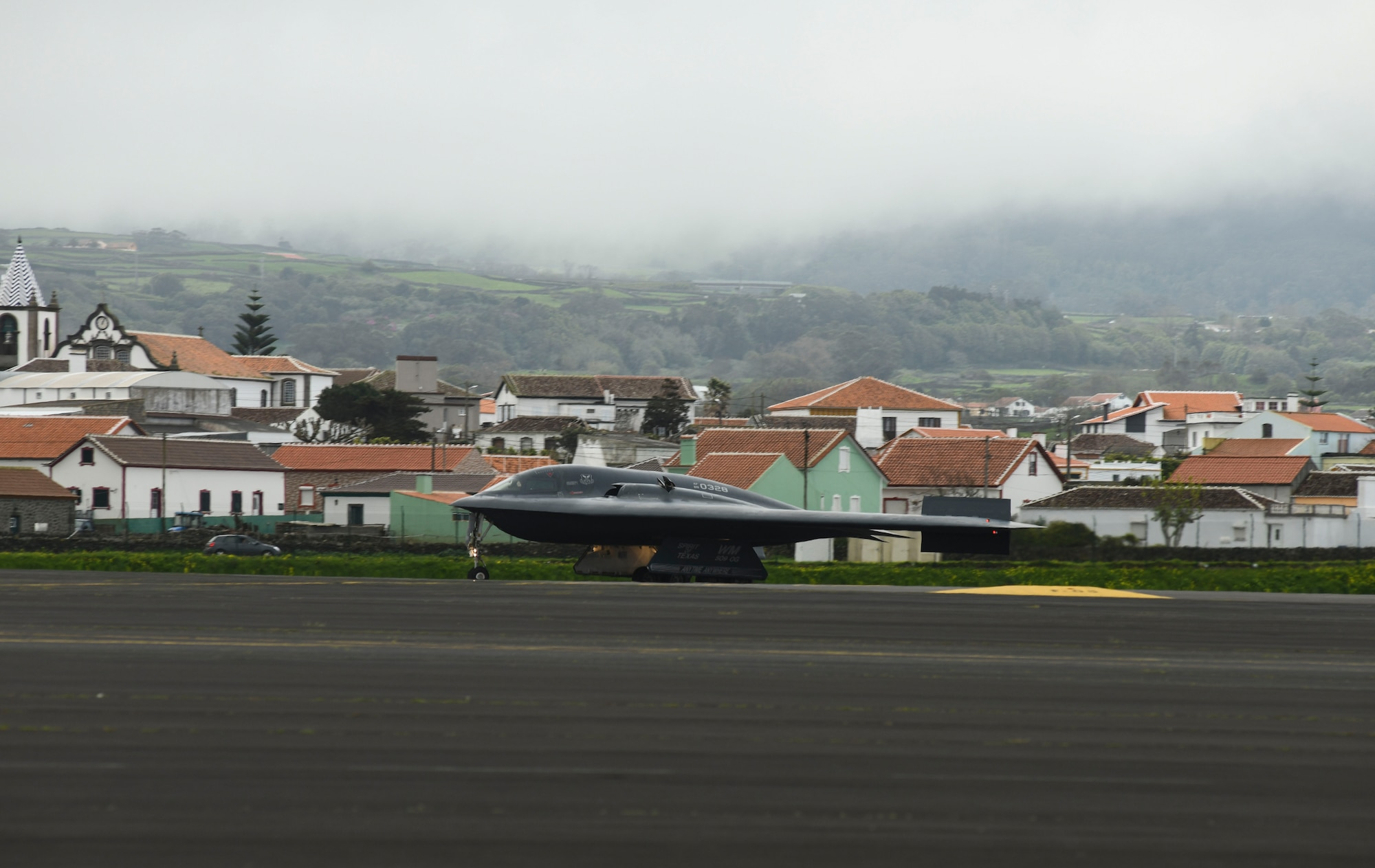 Three B-2 Spirit stealth bombers, assigned to Whiteman Air Force Base, Missouri, arrive at  Lajes Field, Azores, for a bomber task force mission, March 16, 2021. Strategic bomber missions are conducted periodically to enhance the readiness necessary to respond to challenges around the world.