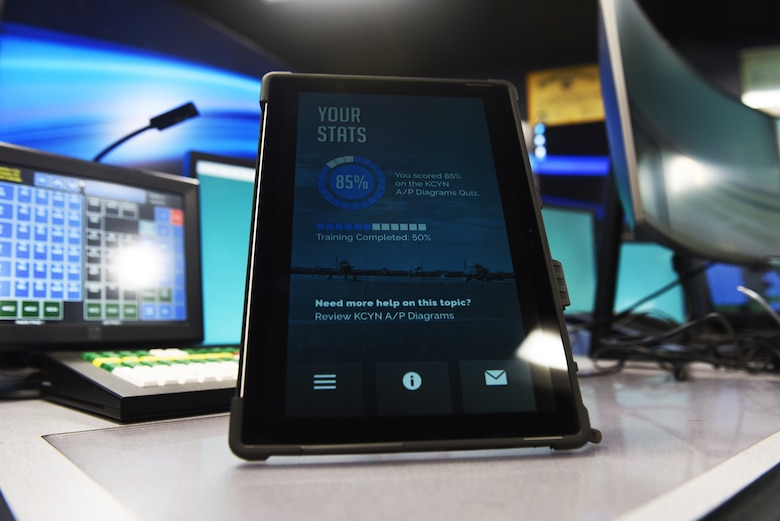 A tablet showcasing the Pocket App program is displayed inside of Cody Hall at Keesler Air Force Base, Mississippi, March 15, 2021. The team first created the app to help future Air Traffic Control students study outside of class and hope to achieve funding through the Spark Tank program. (U.S. Air Force photo by Airman 1st Class Jasmine Galloway)