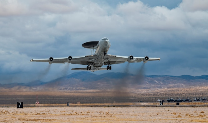 NATO AWACS takes off.