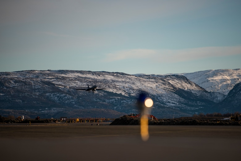 A B-1B Lancer assigned to the 9th Expeditionary Bomb Squadron prepares to land at Ørland Air Force Station, Norway, March 14, 2021. The 9th EBS operated out of Ørland AFS, Norway where they conducted a series of Bomber Task Force Europe training missions. These bomber missions are representative of the U.S. commitment to our allies and enhancing regional security. (U.S. Air Force photo by Airman 1st Class Colin Hollowell)