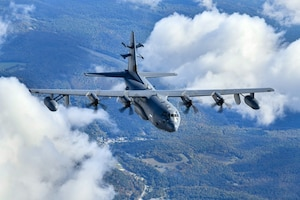An EC-130J Commando Solo from the 193rd Special Operations Squadron takes flight from Harrisburg Air National Guard Base, Pa., Oct. 2, 2020. The EC-130J Commando Solo, a specially-modified four-engine Hercules transport, conducts airborne Information Operations via digital and analog radio and television broadcasts. (U.S. Air Force photo)