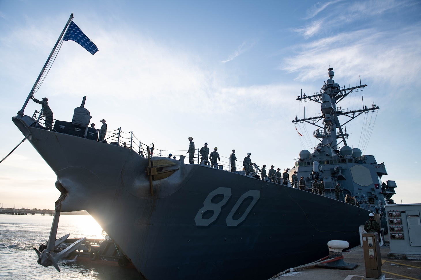 200419-N-CE622-0085  ROTA, Spain (April 19, 2020) -- The Arleigh Burke-class guided-missile destroyer USS Roosevelt (DDG 80) arrives at Naval Station Rota as part of its homeport shift, April 19, 2020. Roosevelt replaces USS Carney (DDG 64) as one of four forward deployed naval forces (FDNF) in Spain. Named in honor of President Franklin D. Roosevelt and his wife Eleanor, Roosevelt will be the first Flight IIA Arleigh Burke-class guided-missile destroyer stationed in Rota, providing the ability to deploy with two embarked Lamps MK III MH-60B Sea Hawk helicopters.